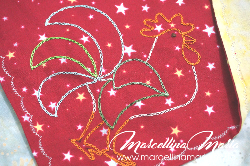 DIY learn how to make rooster napkin for chinese new year with embroidery and sewing